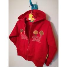 Červená mikina s kapucí na zip