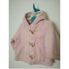 Teplý prošívaný růžový kabát, kabátek na zip a knoflíky