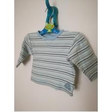 Bavlněné triko s dlouhým rukávem modré s proužky