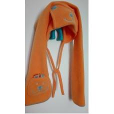 Ušanka oranžová fleecová,obv.51, vel.3-6 let