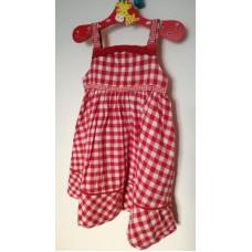 Kostičkované šaty červené