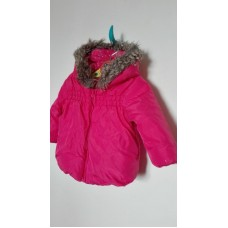 Růžová zimní bunda s kapucí