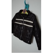 Koženková tmavě hnědá bunda