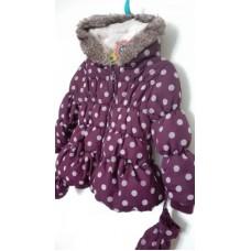 Fialová zimní bunda s puntíky