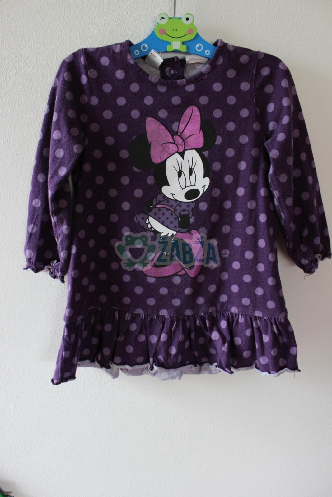 Fialové puntíkaté šaty s obrázkem Minnie
