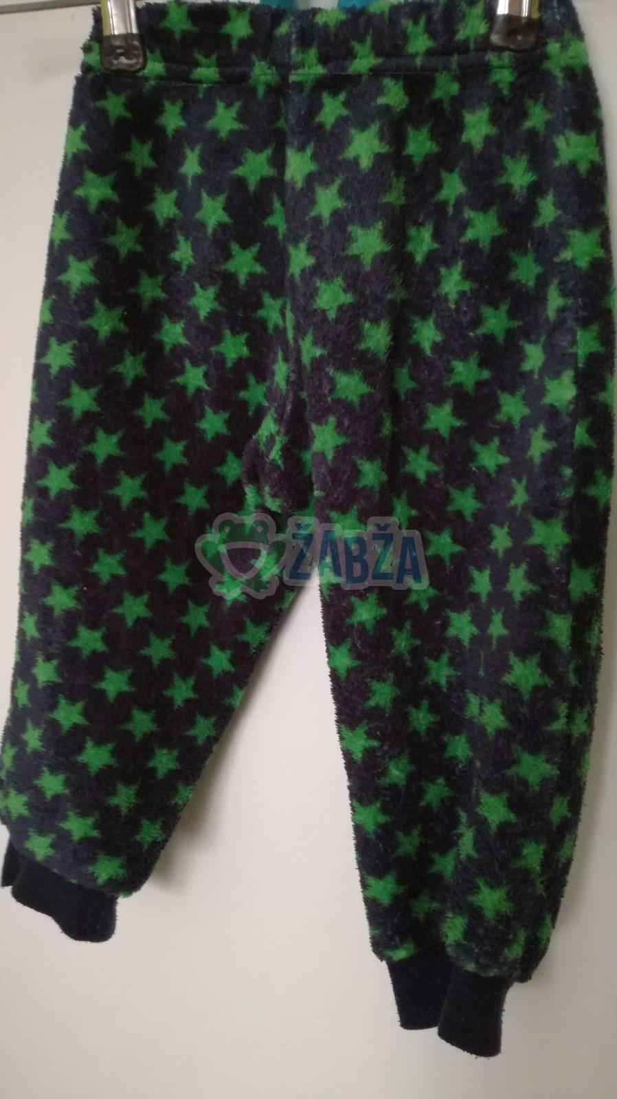 Chlupatinkové kalhoty se zelenými hvězdičkami