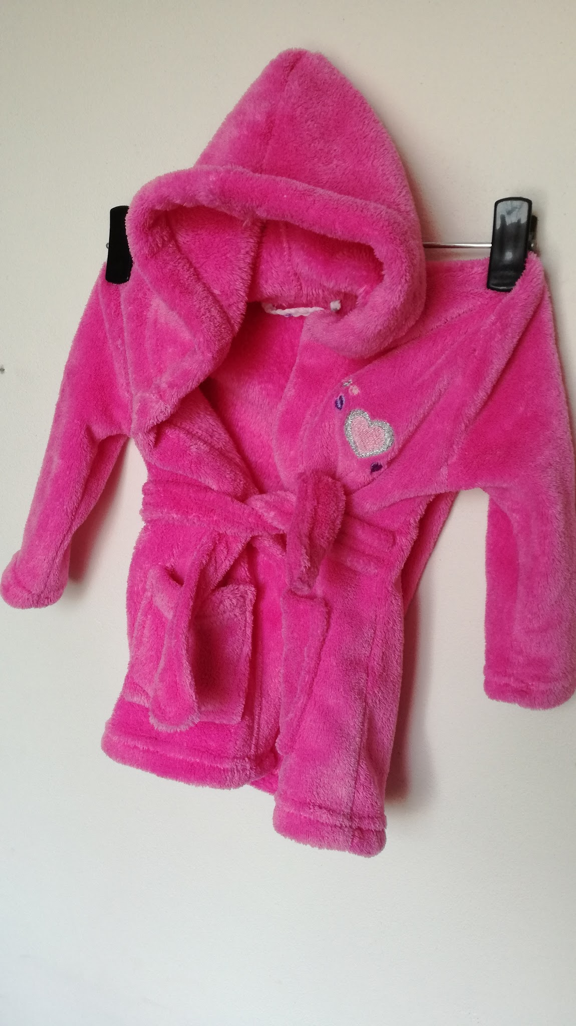 Růžový chlupatinkový župan se srdíčky vel.80